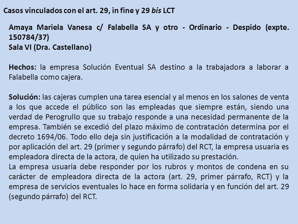 Casos vinculados con el art. 29, in fine y 29 bis LCT