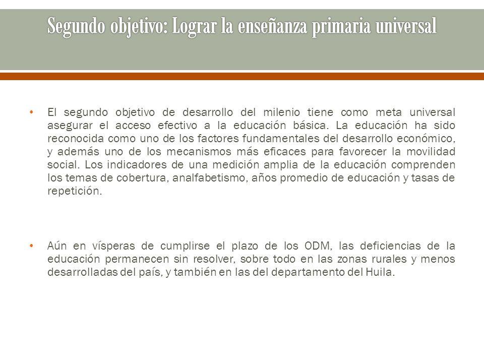 Segundo objetivo: Lograr la enseñanza primaria universal