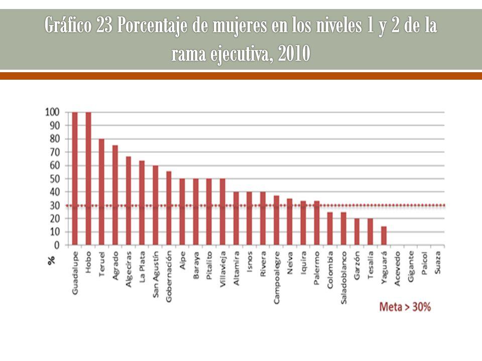 Gráfico 23 Porcentaje de mujeres en los niveles 1 y 2 de la rama ejecutiva, 2010