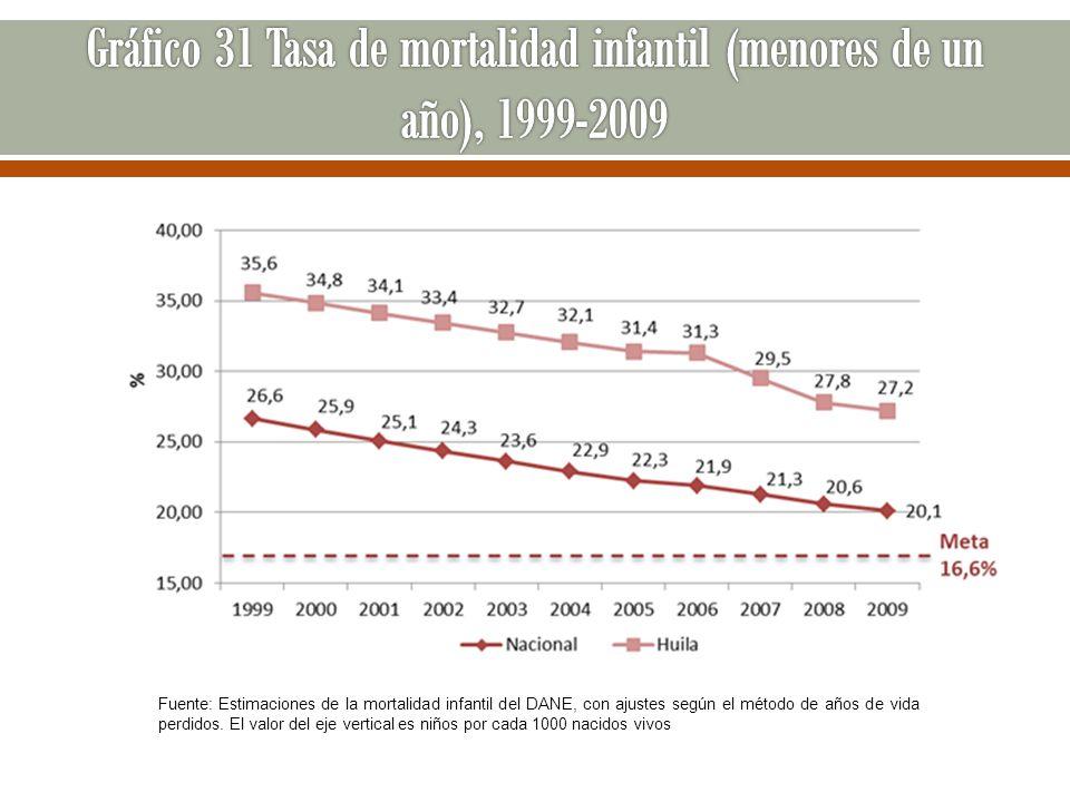 Gráfico 31 Tasa de mortalidad infantil (menores de un año), 1999-2009