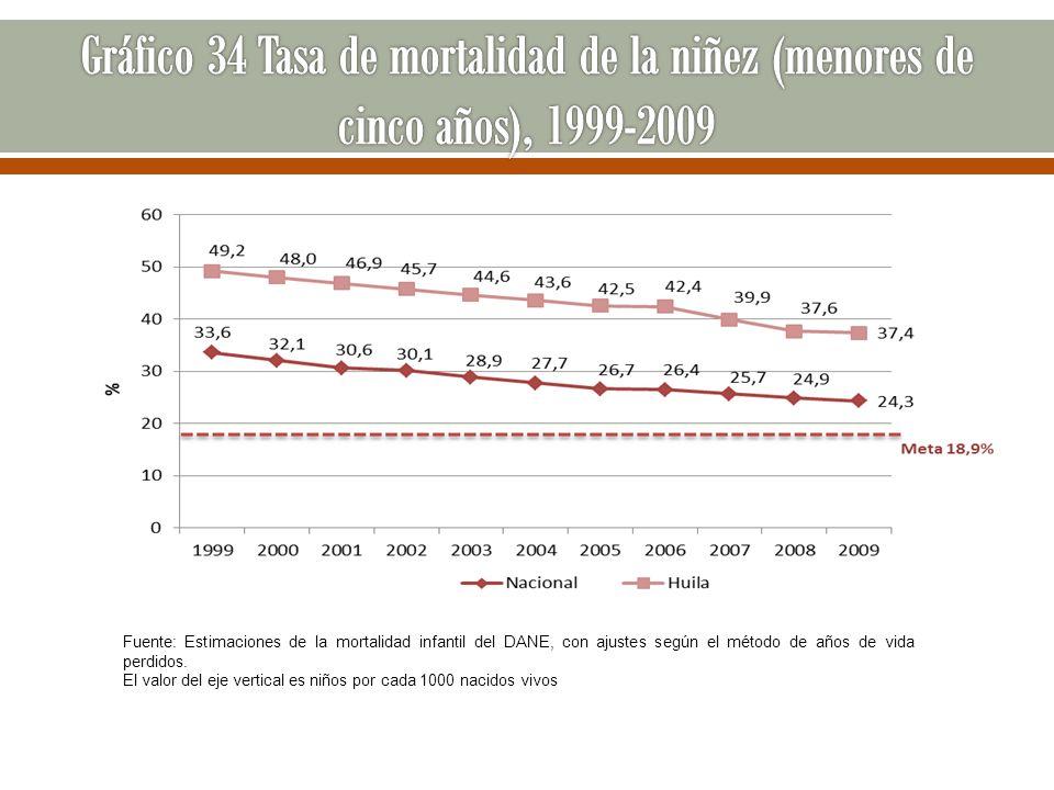 Gráfico 34 Tasa de mortalidad de la niñez (menores de cinco años), 1999-2009