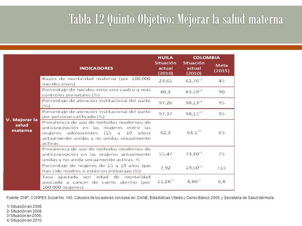 Tabla 12 Quinto Objetivo: Mejorar la salud materna