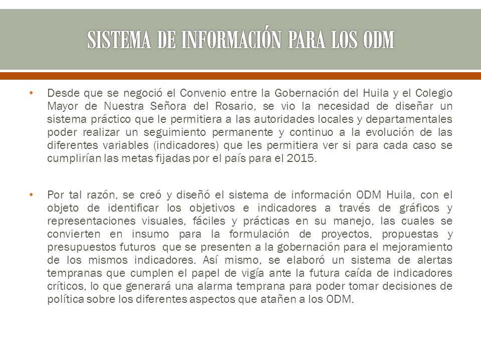 SISTEMA DE INFORMACIÓN PARA LOS ODM