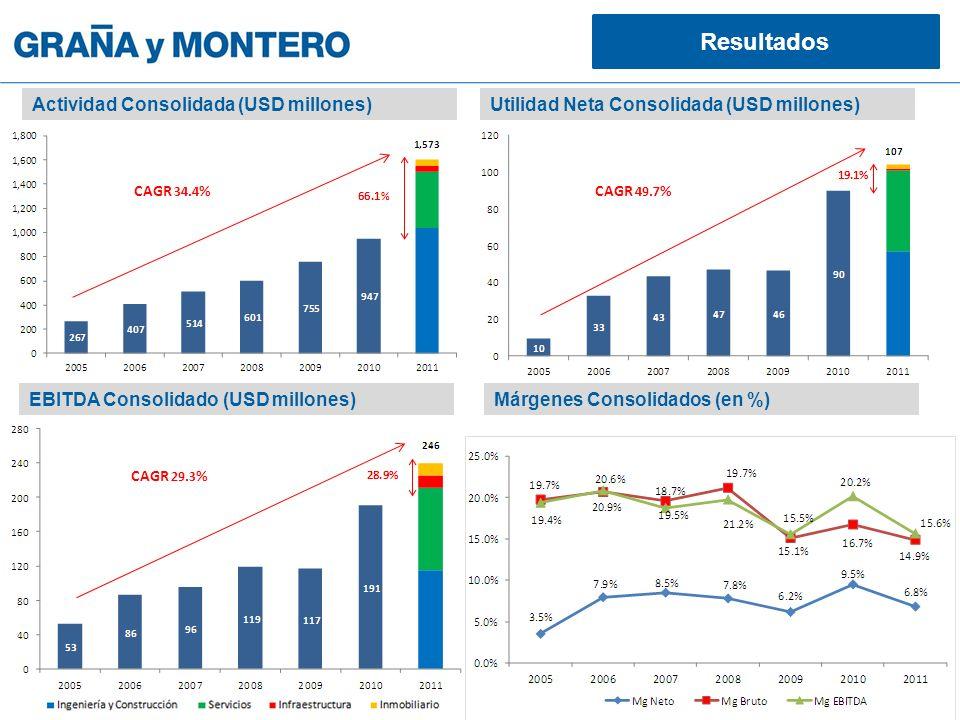 Resultados Actividad Consolidada (USD millones)