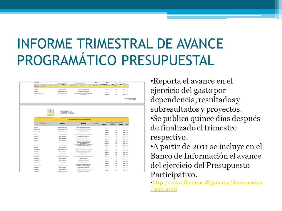 INFORME TRIMESTRAL DE AVANCE PROGRAMÁTICO PRESUPUESTAL