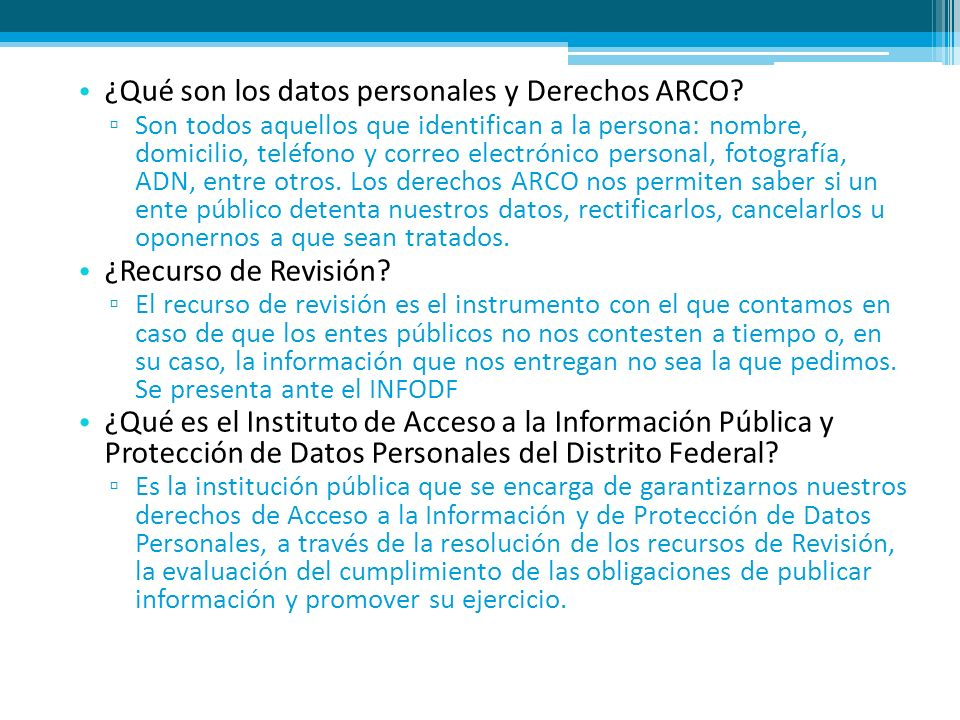 ¿Qué son los datos personales y Derechos ARCO