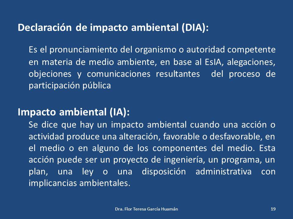 Declaración de impacto ambiental (DIA):