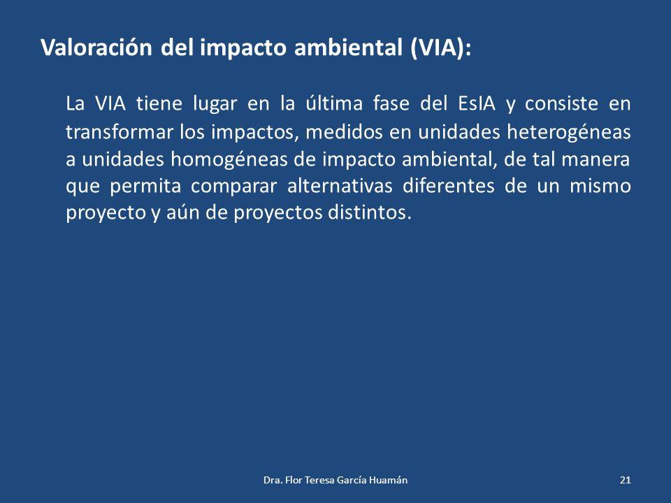 Valoración del impacto ambiental (VIA):