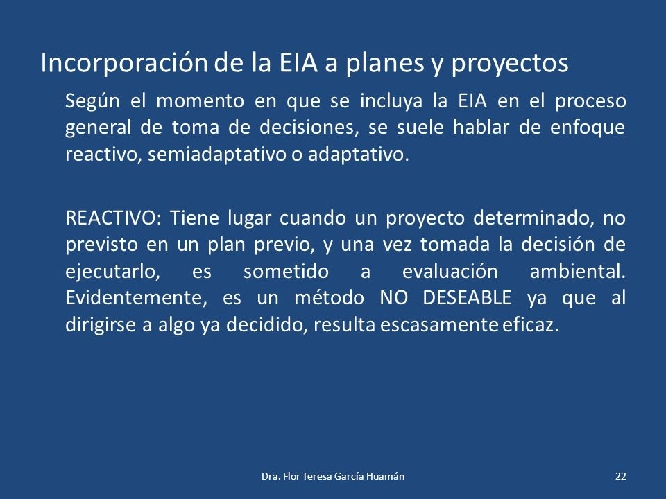 Incorporación de la EIA a planes y proyectos