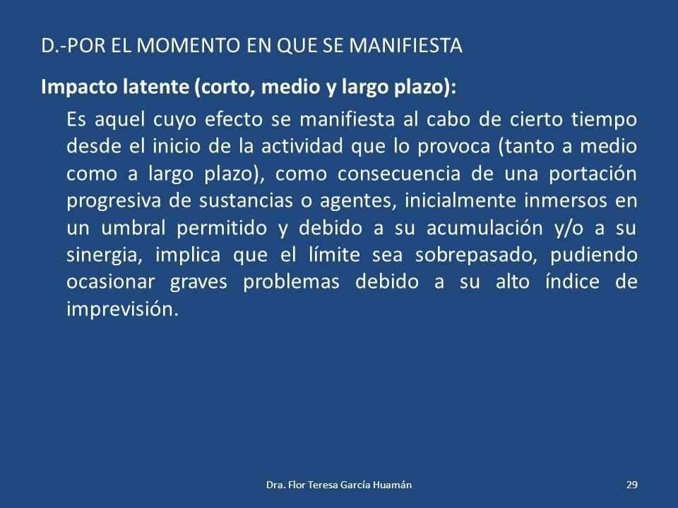 D.-POR EL MOMENTO EN QUE SE MANIFIESTA