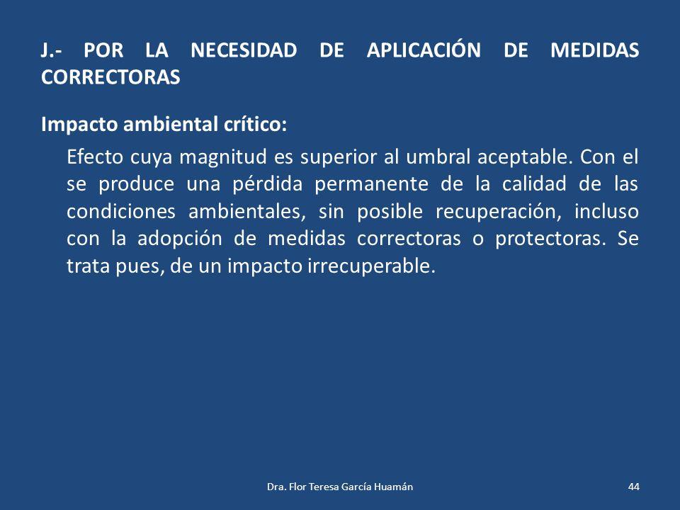 J.- POR LA NECESIDAD DE APLICACIÓN DE MEDIDAS CORRECTORAS