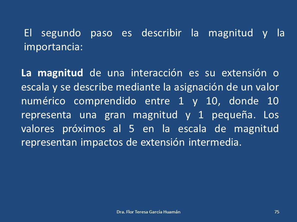 El segundo paso es describir la magnitud y la importancia: