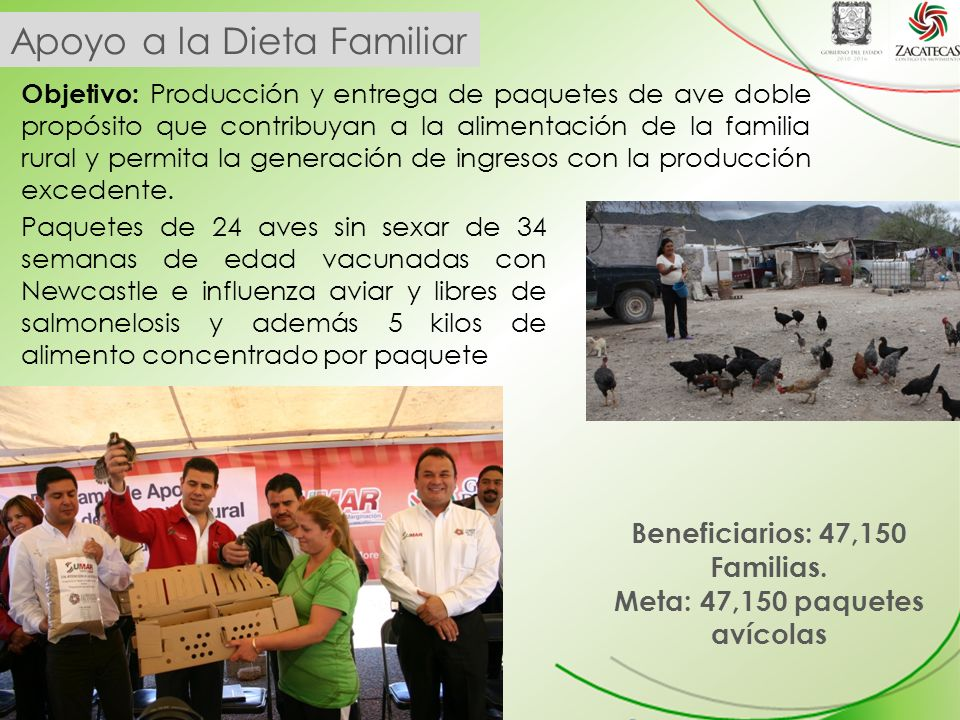 Beneficiarios: 47,150 Familias. Meta: 47,150 paquetes avícolas