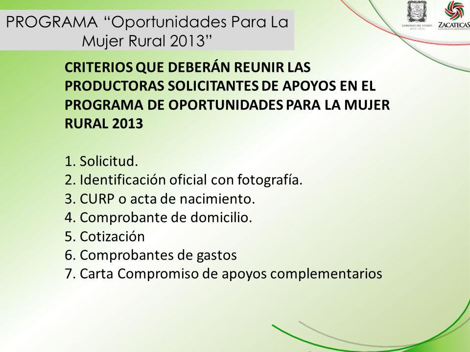 PROGRAMA Oportunidades Para La Mujer Rural 2013