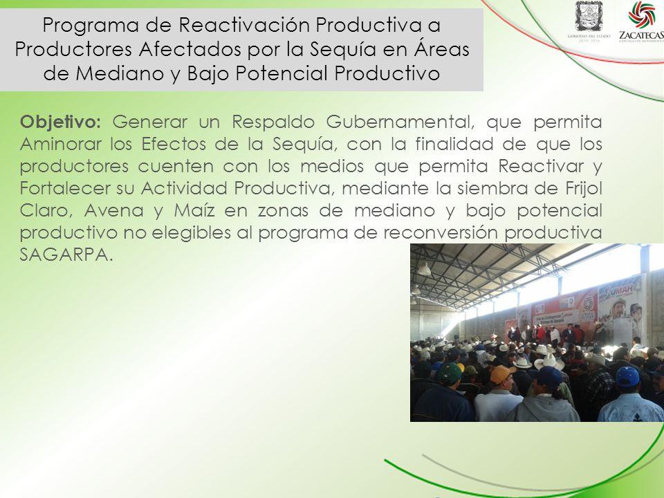 Programa de Reactivación Productiva a Productores Afectados por la Sequía en Áreas de Mediano y Bajo Potencial Productivo