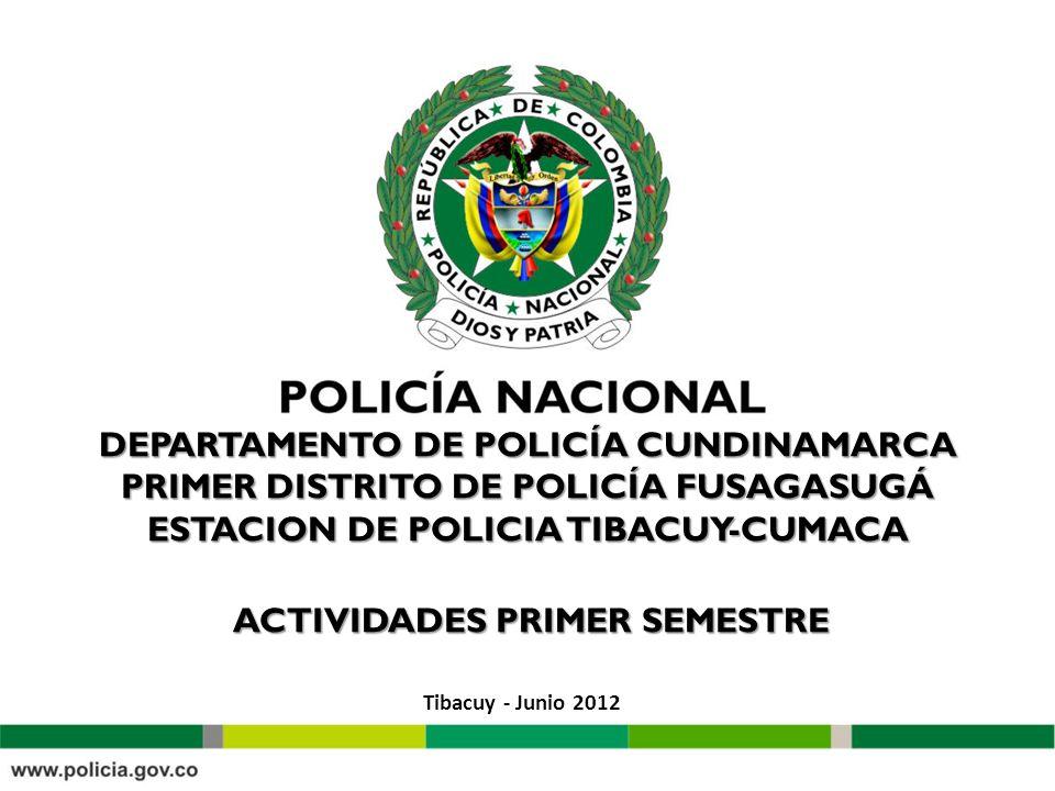 DEPARTAMENTO DE POLICÍA CUNDINAMARCA PRIMER DISTRITO DE POLICÍA FUSAGASUGÁ ESTACION DE POLICIA TIBACUY-CUMACA ACTIVIDADES PRIMER SEMESTRE