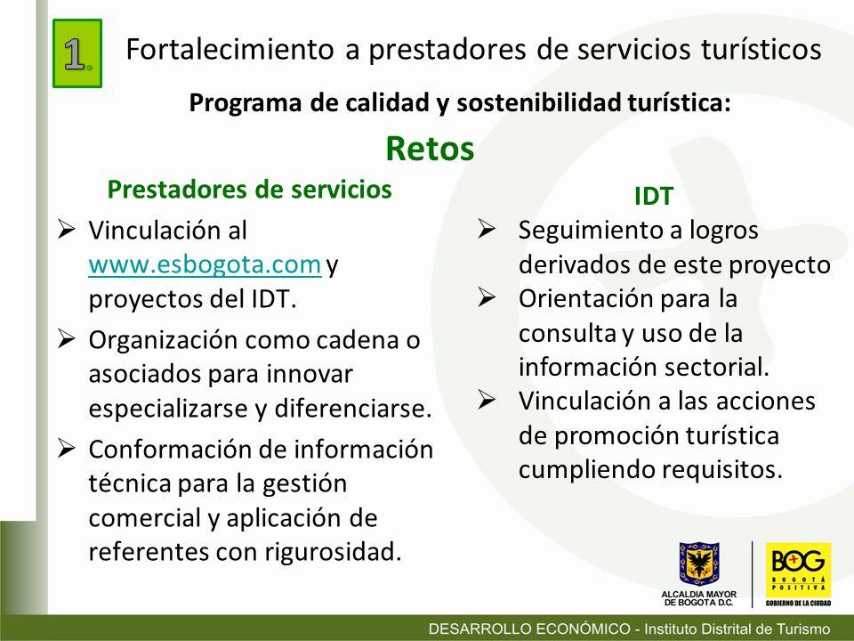 1. Retos Fortalecimiento a prestadores de servicios turísticos