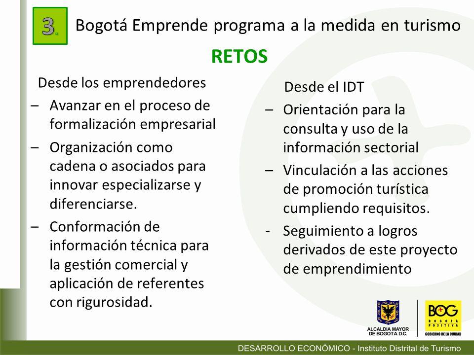 3. RETOS Bogotá Emprende programa a la medida en turismo Desde el IDT