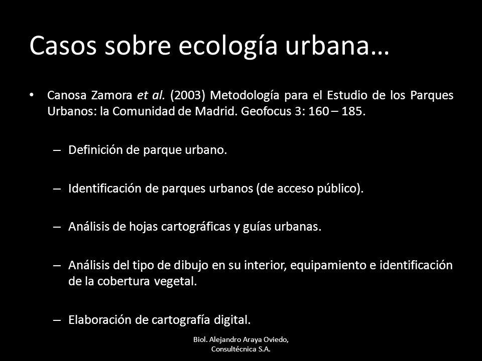 Casos sobre ecología urbana…