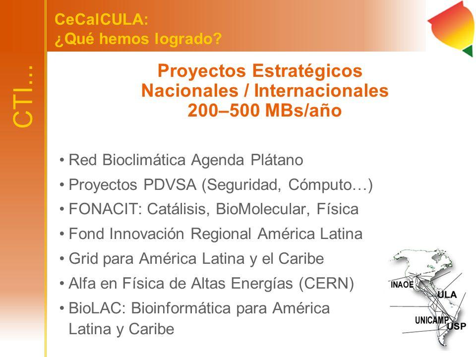 Proyectos Estratégicos Nacionales / Internacionales 200–500 MBs/año