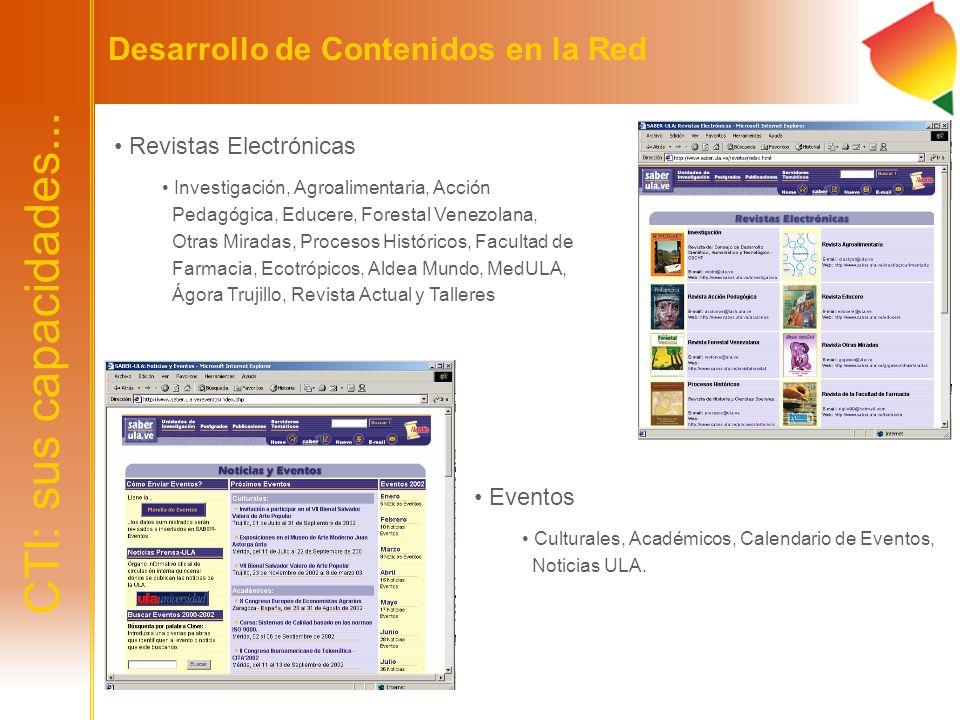 CTI: sus capacidades... Desarrollo de Contenidos en la Red