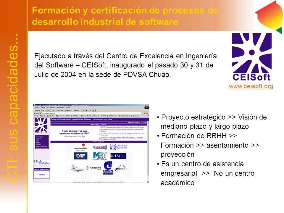 Formación y certificación de procesos de desarrollo industrial de software