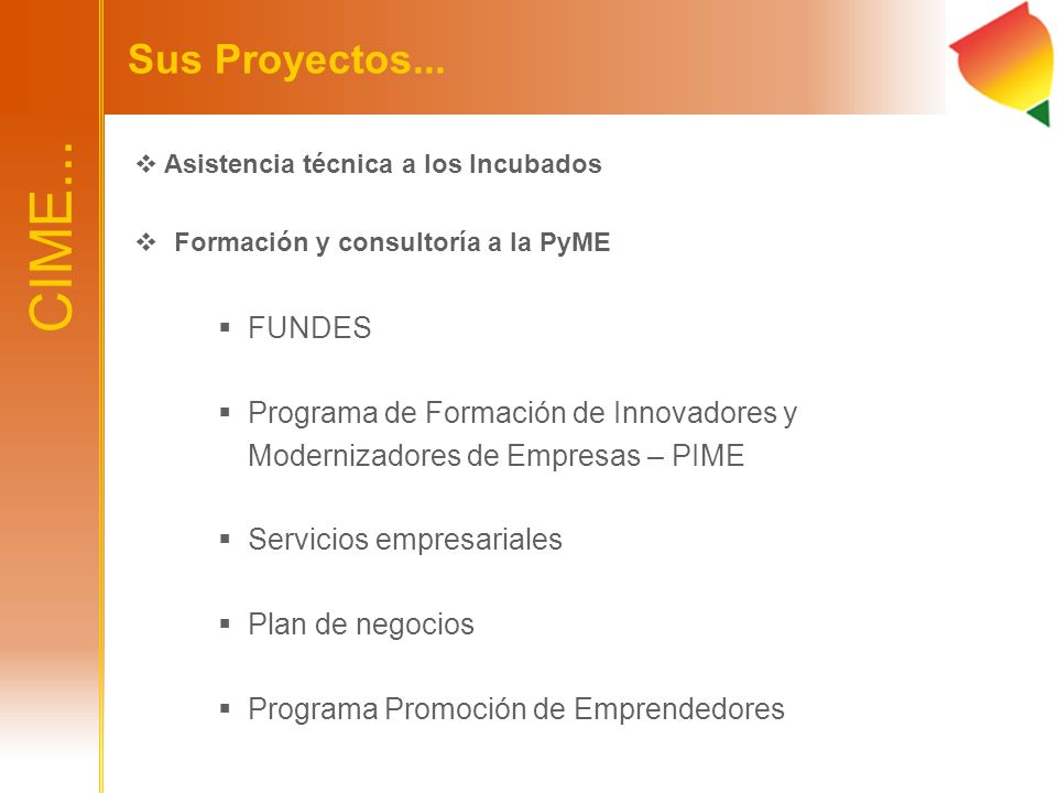 CIME... Sus Proyectos... FUNDES