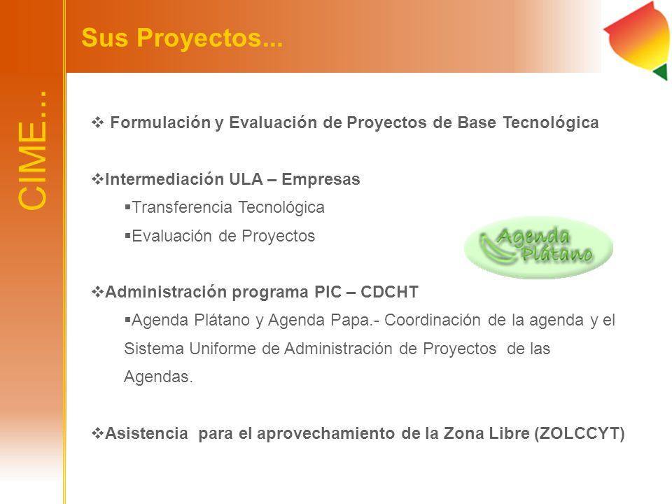 Sus Proyectos... Formulación y Evaluación de Proyectos de Base Tecnológica. Intermediación ULA – Empresas.