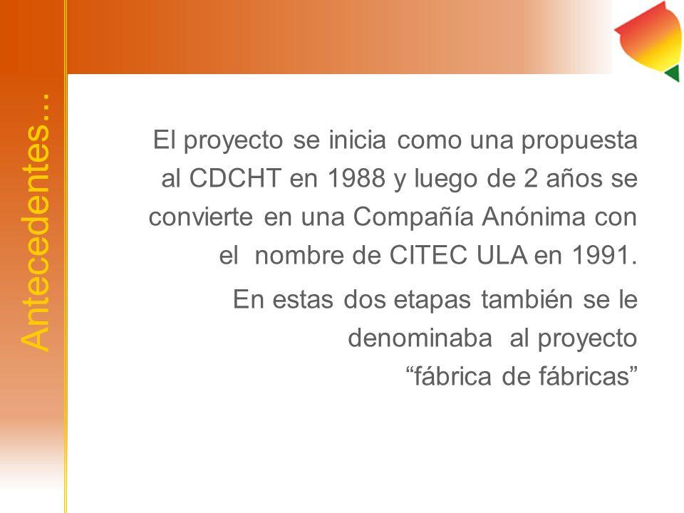 El proyecto se inicia como una propuesta al CDCHT en 1988 y luego de 2 años se convierte en una Compañía Anónima con el nombre de CITEC ULA en 1991.