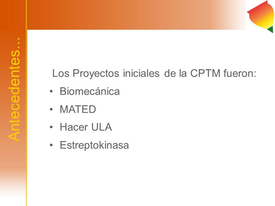 Antecedentes... Los Proyectos iniciales de la CPTM fueron: Biomecánica