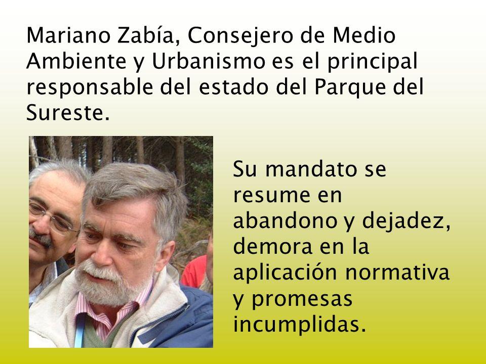Mariano Zabía, Consejero de Medio Ambiente y Urbanismo es el principal responsable del estado del Parque del Sureste.