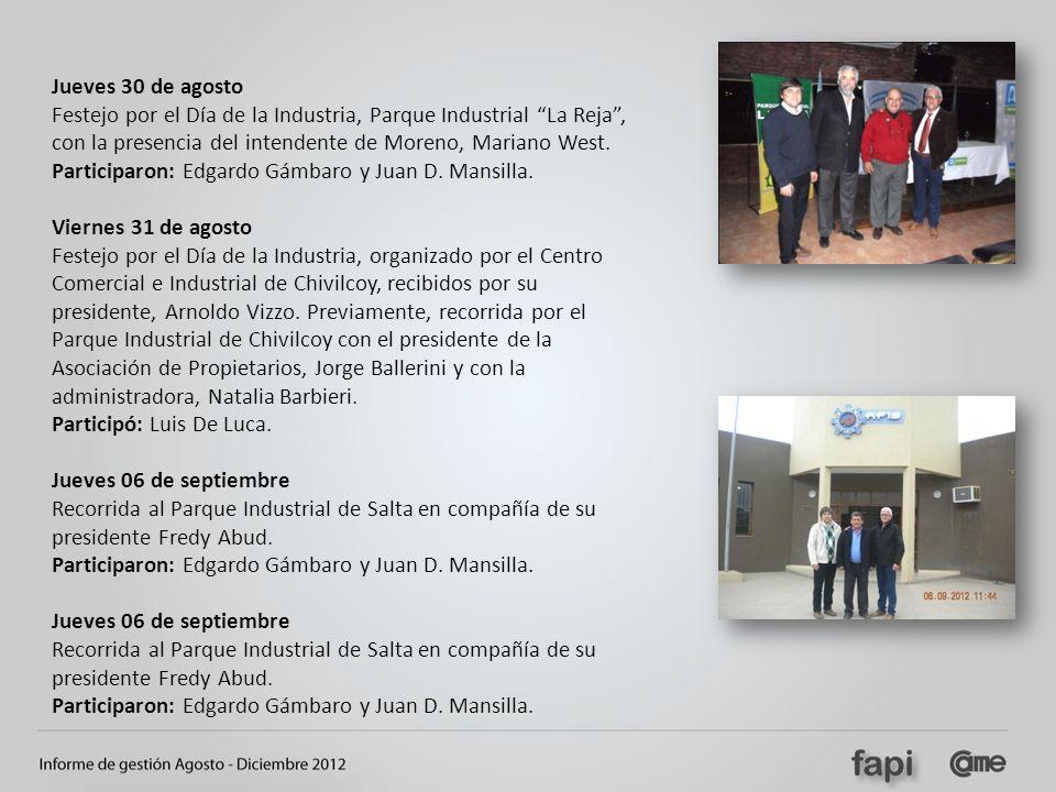 Jueves 30 de agosto Festejo por el Día de la Industria, Parque Industrial La Reja , con la presencia del intendente de Moreno, Mariano West.