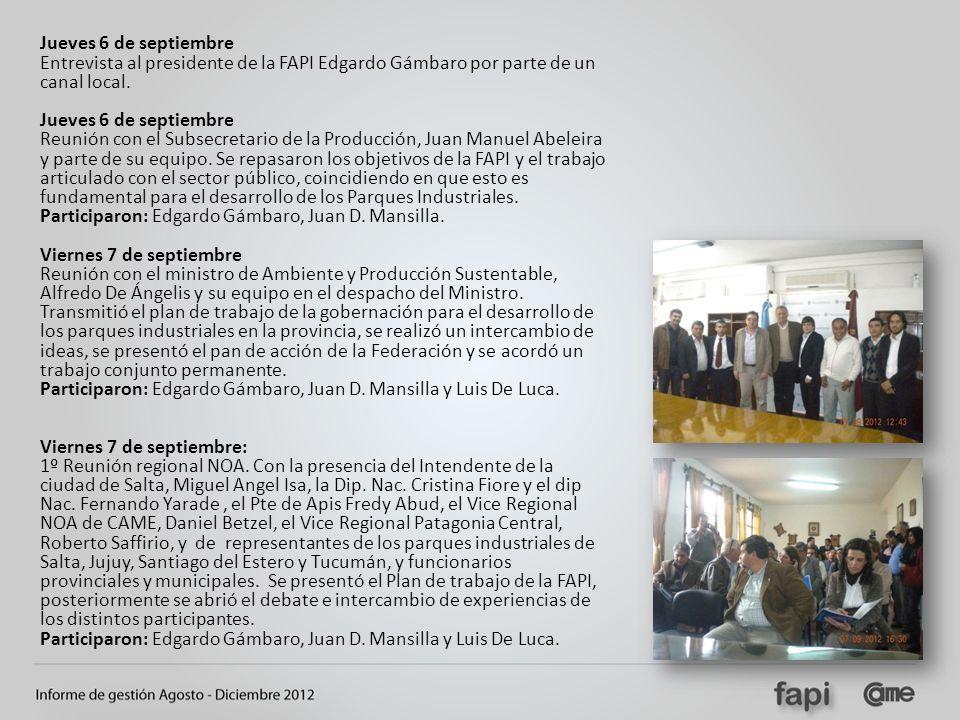 Jueves 6 de septiembre Entrevista al presidente de la FAPI Edgardo Gámbaro por parte de un canal local.