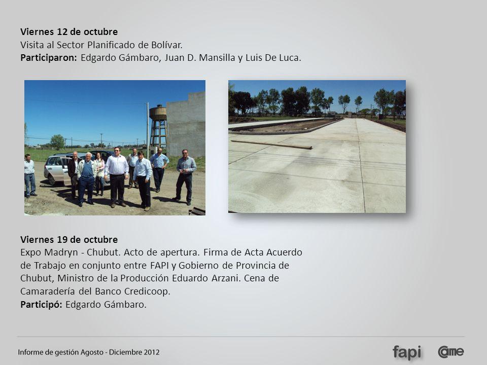 Viernes 12 de octubre Visita al Sector Planificado de Bolívar. Participaron: Edgardo Gámbaro, Juan D. Mansilla y Luis De Luca.