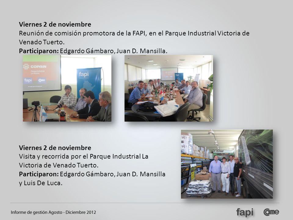 Viernes 2 de noviembre Reunión de comisión promotora de la FAPI, en el Parque Industrial Victoria de Venado Tuerto.