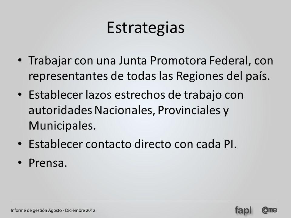 Estrategias Trabajar con una Junta Promotora Federal, con representantes de todas las Regiones del país.