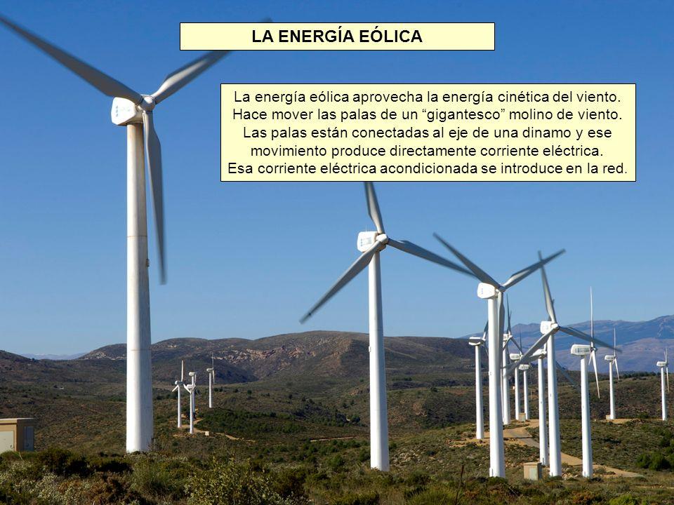 LA ENERGÍA EÓLICA La energía eólica aprovecha la energía cinética del viento. Hace mover las palas de un gigantesco molino de viento.