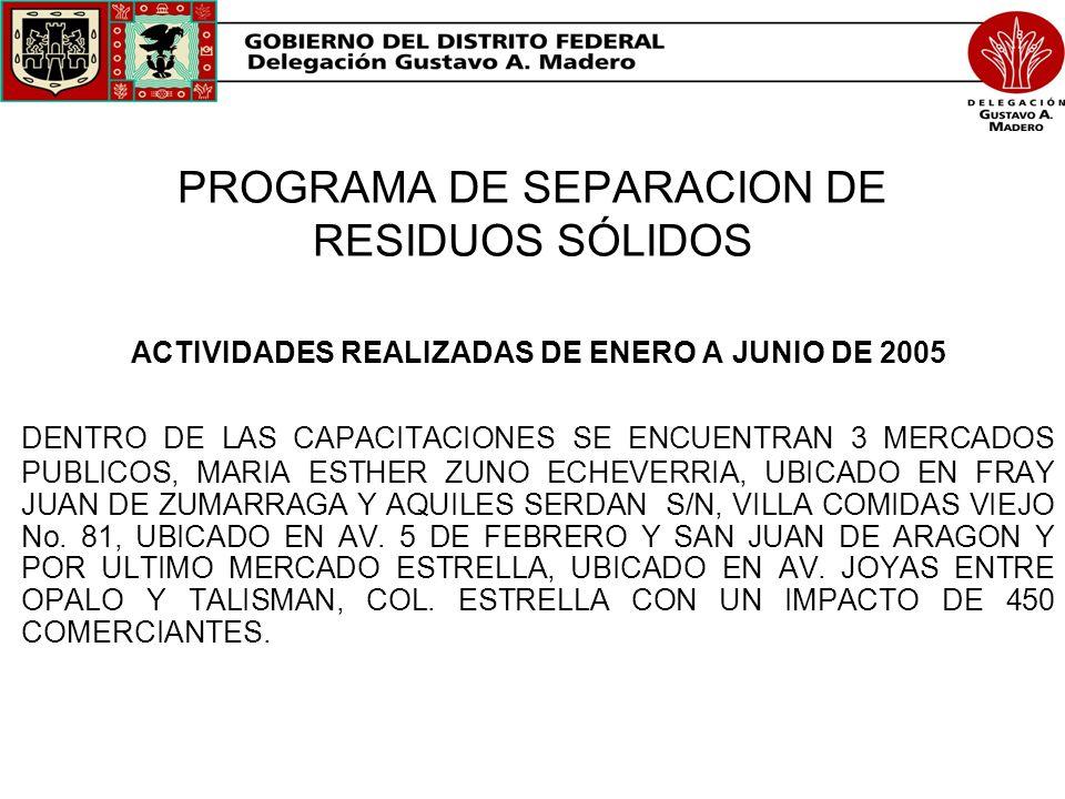 PROGRAMA DE SEPARACION DE RESIDUOS SÓLIDOS ACTIVIDADES REALIZADAS DE ENERO A JUNIO DE 2005