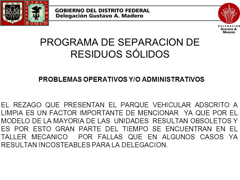PROGRAMA DE SEPARACION DE RESIDUOS SÓLIDOS PROBLEMAS OPERATIVOS Y/O ADMINISTRATIVOS