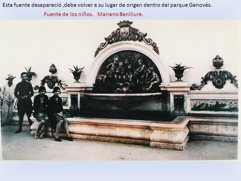 Esta fuente desapareció ,debe volver a su lugar de origen dentro del parque Genovés.