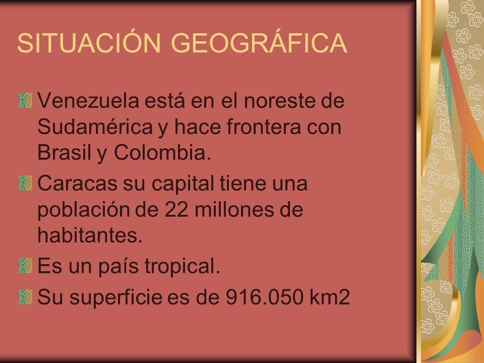 SITUACIÓN GEOGRÁFICA Venezuela está en el noreste de Sudamérica y hace frontera con Brasil y Colombia.