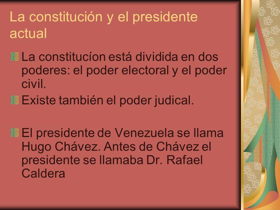 La constitución y el presidente actual
