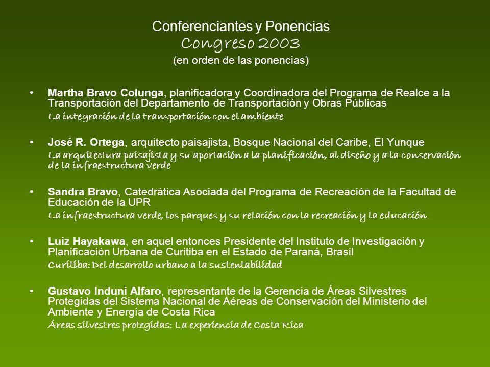 Conferenciantes y Ponencias Congreso 2003 (en orden de las ponencias)