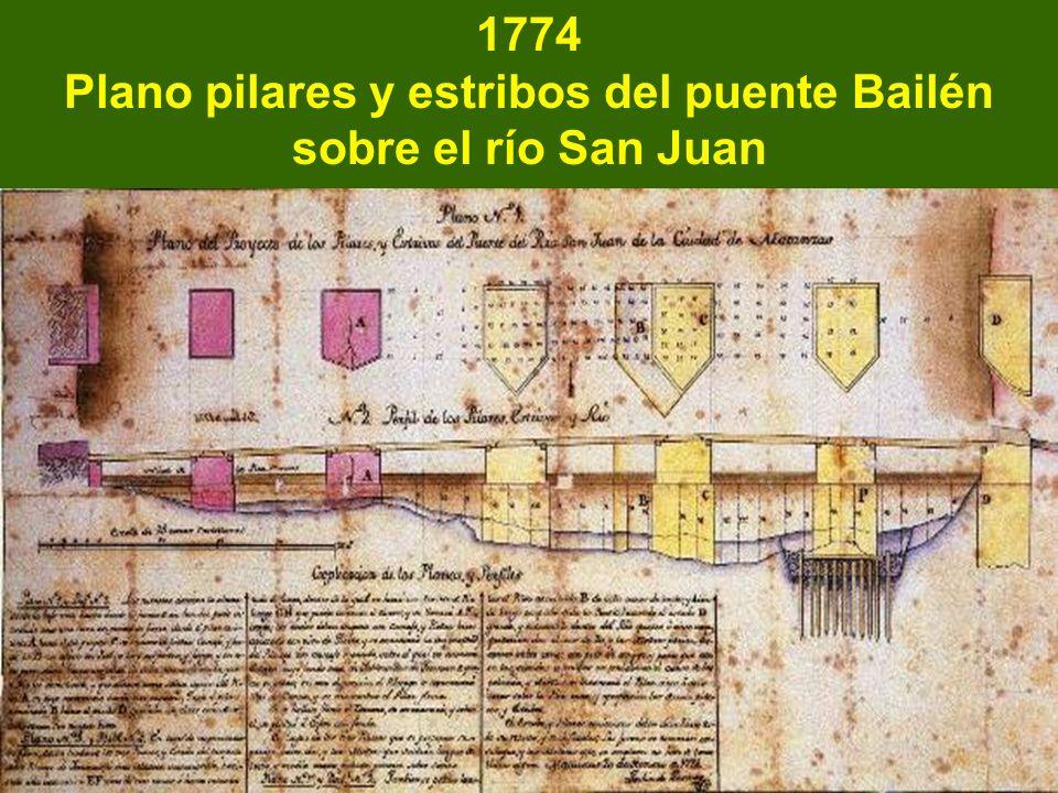Plano pilares y estribos del puente Bailén sobre el río San Juan