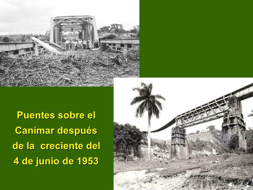 Puentes sobre el Canímar después de la creciente del 4 de junio de 1953