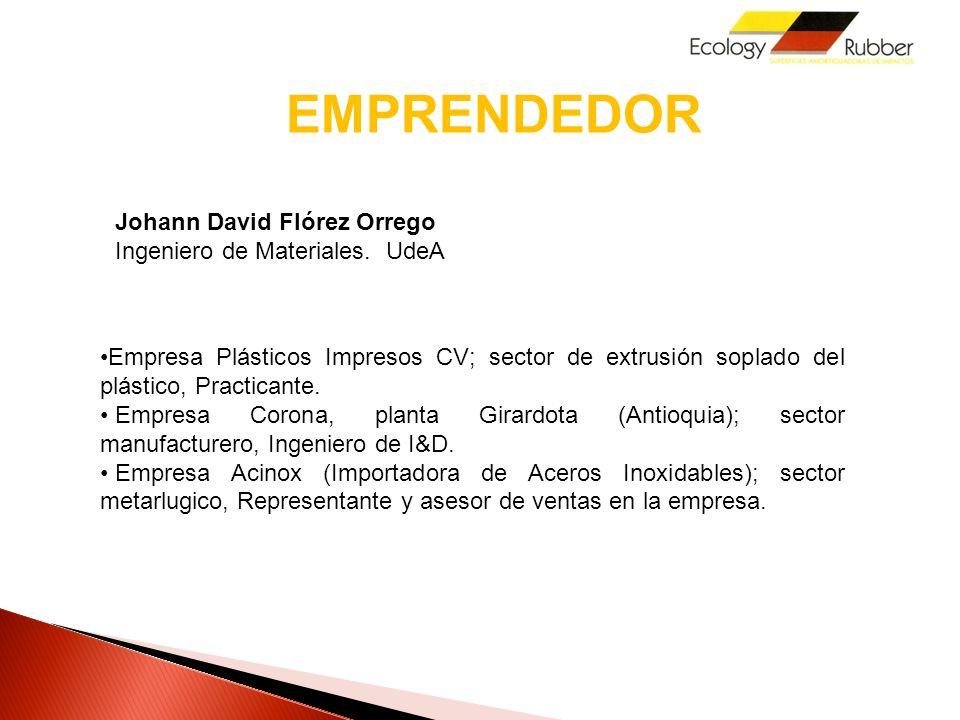 EMPRENDEDOR Johann David Flórez Orrego Ingeniero de Materiales. UdeA
