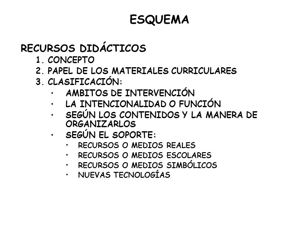 ESQUEMA RECURSOS DIDÁCTICOS 1. CONCEPTO