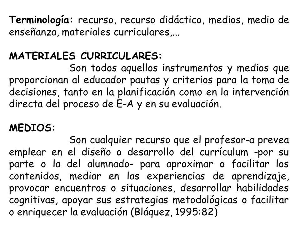 Terminología: recurso, recurso didáctico, medios, medio de enseñanza, materiales curriculares,...