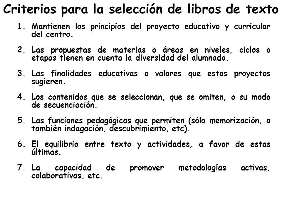Criterios para la selección de libros de texto