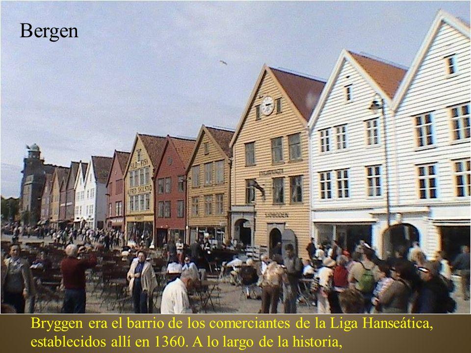 Bergen Bryggen era el barrio de los comerciantes de la Liga Hanseática, establecidos allí en 1360.